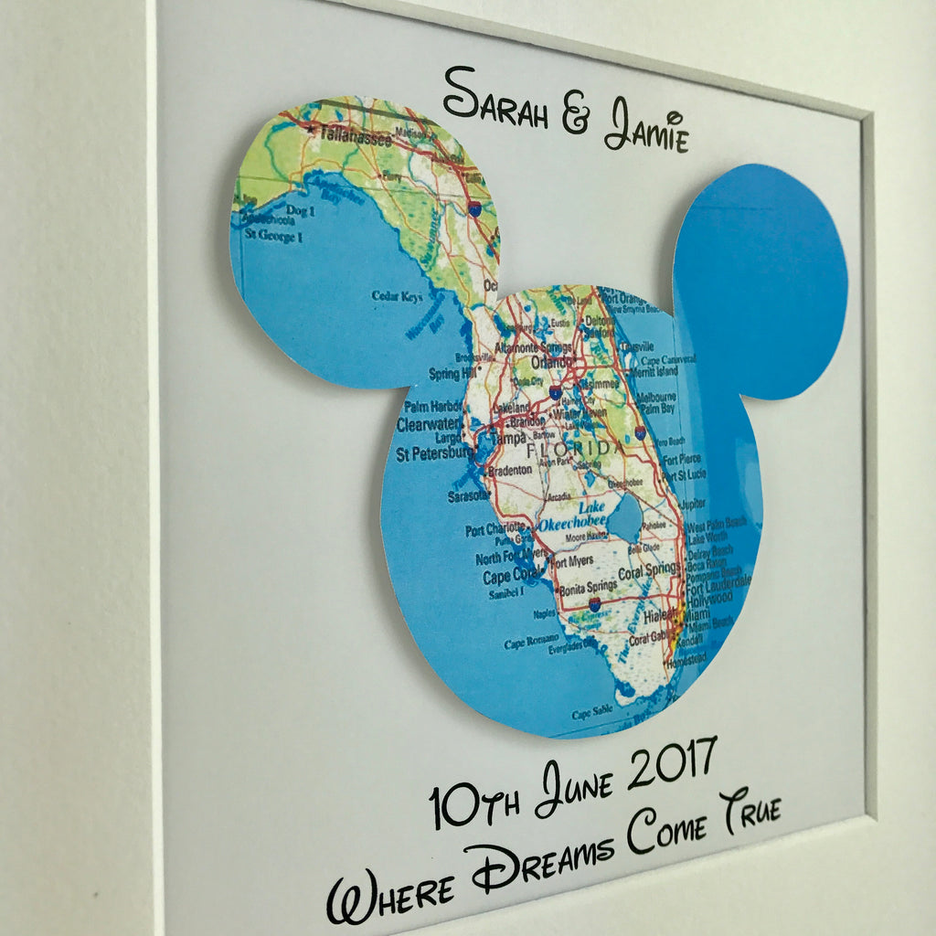 Framed mickey mouse map | Disney engagement gift | travel ...