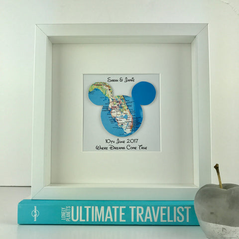 Framed mickey mouse map | Disney engagement gift | travel | personalised gift | wedding | anniversary