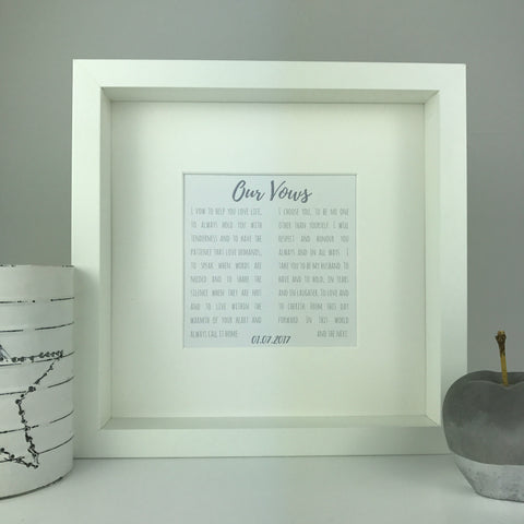 Our Vows print | square box frame | personalised wedding anniversary gift