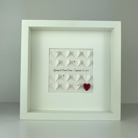 16 little hearts personalised frame | wedding engagement anniversary gift