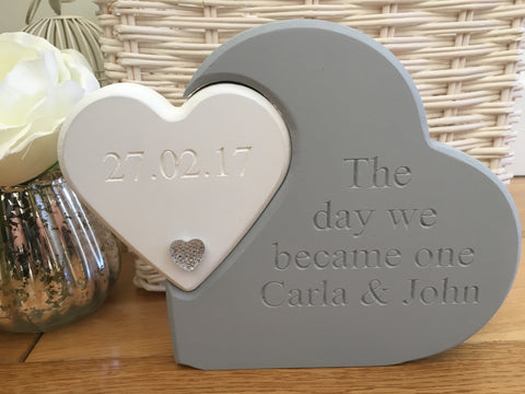 Free Standing Engraved Double Heart