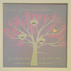 Granchildren family tree framed print in grey, pale pink and green