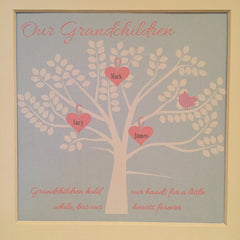 Granchildren family tree framed print in blue and pink