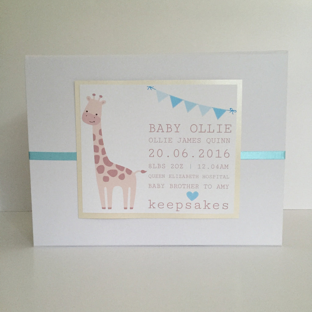 New Baby Keepsake Box | Giraffe & Bunting