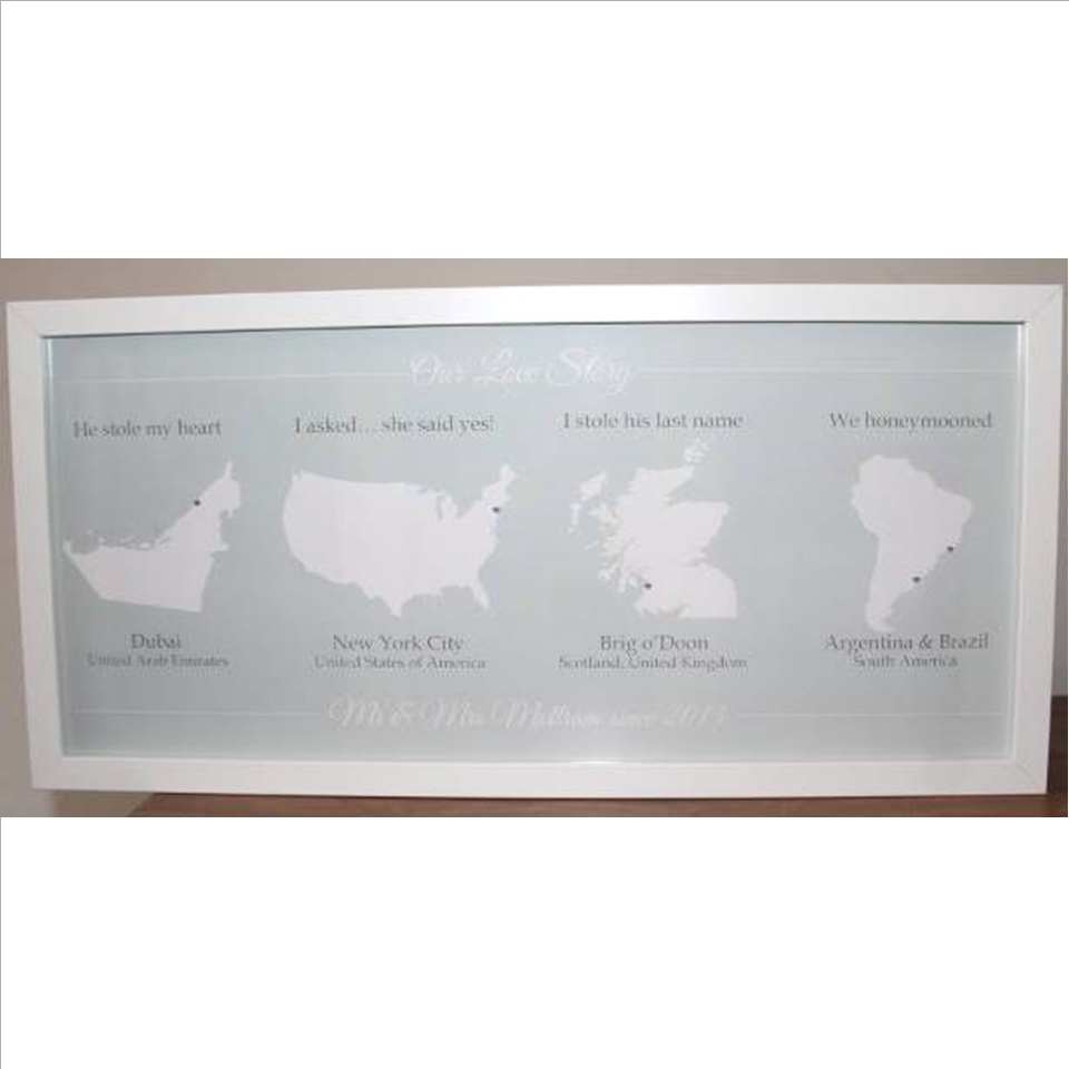 Our love story framed print with maps and locations