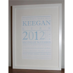 Personalised framed print with new baby details including name, date and time of birth