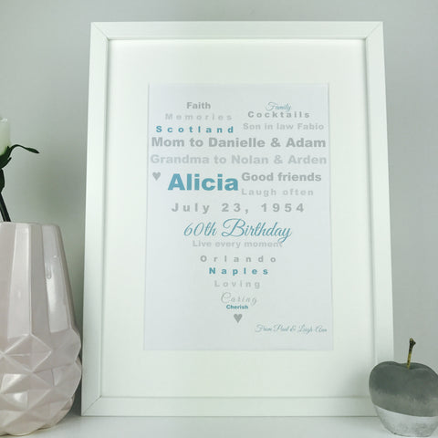 Personalised birthday heart print | heart word art framed keepsake gift
