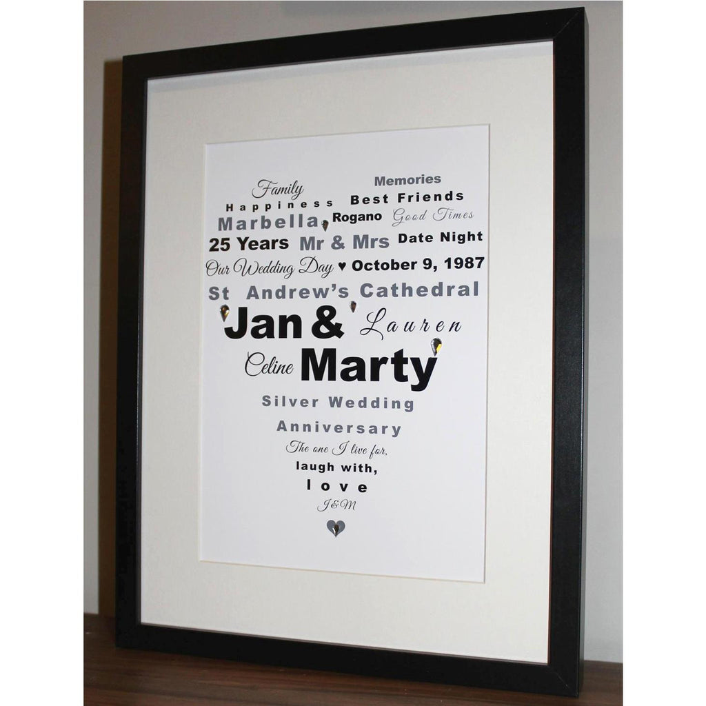 Large personalised framed heart print in black and white