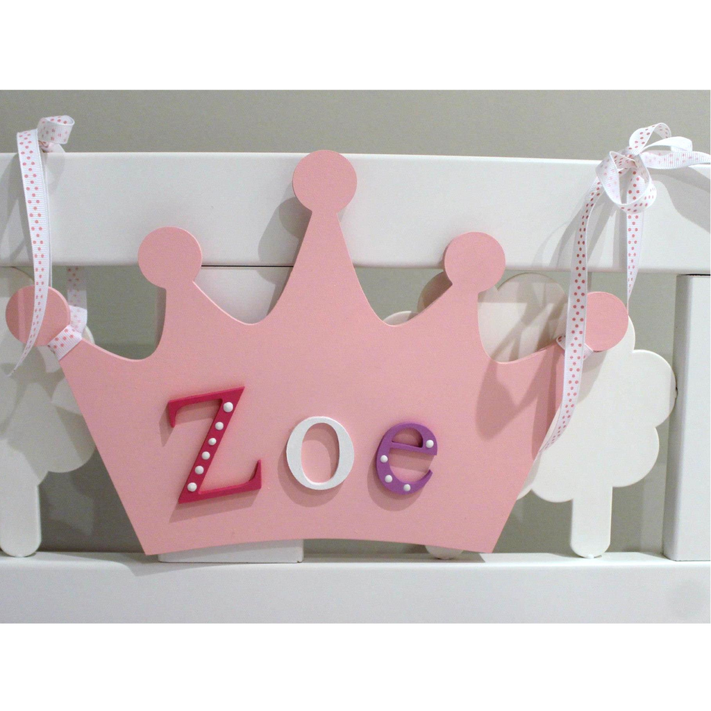 Pink hand painted crown shaped name plaque with wooden letters