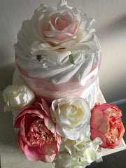 Gorgeous 3 Tier Nappy Cake Decorated with Beautiful Silk Ribbon and Flowers