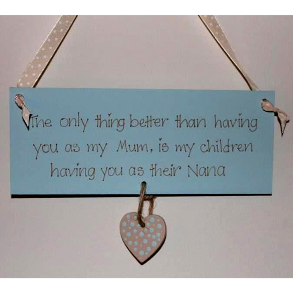 Handpainted hanging wooden plaque for mothers day or grans