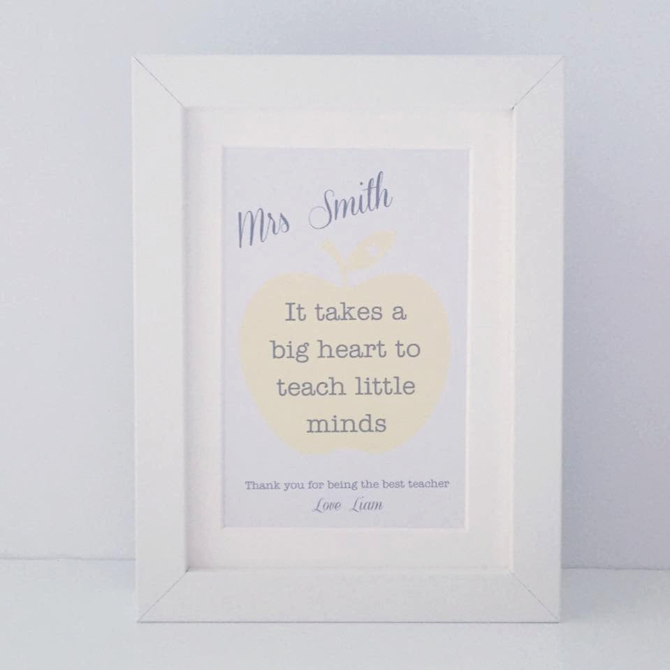 I takes a big heart to teach little minds | mini personalised frame | teacher gift