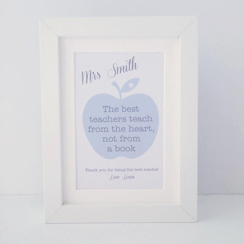 The best teachers teach from the heart, not from a book | mini personalised frame | teacher gift