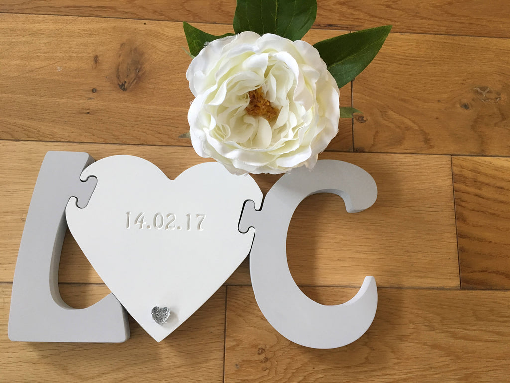 Free Standing Wooden Initials with Engraved Heart/Wedding gift/engagement gift/Mr & Mrs/personalised gift