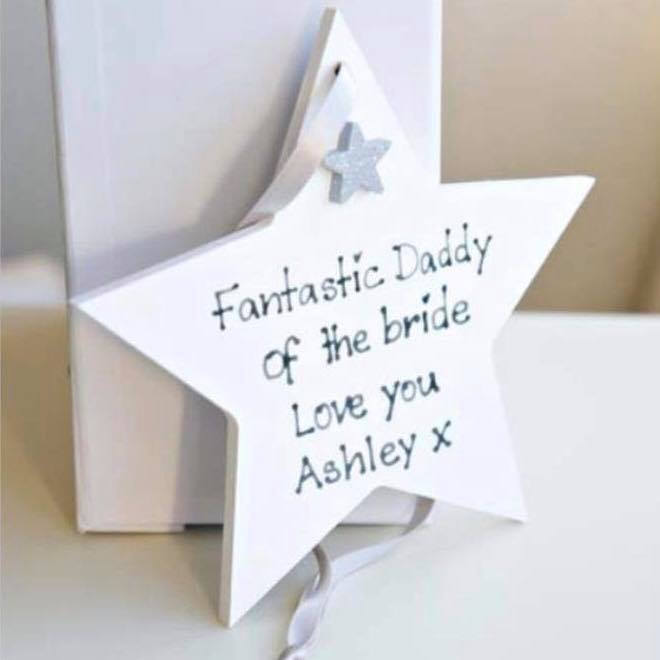 Father of the Bride Hanging Star| personalised bride & groom hand-painted gift | mr and mrs/ father of the bride gift