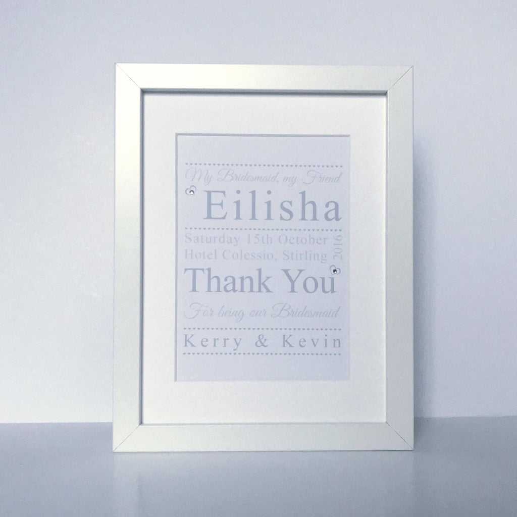 Personalised Bridesmaid Thank You Print (framed)