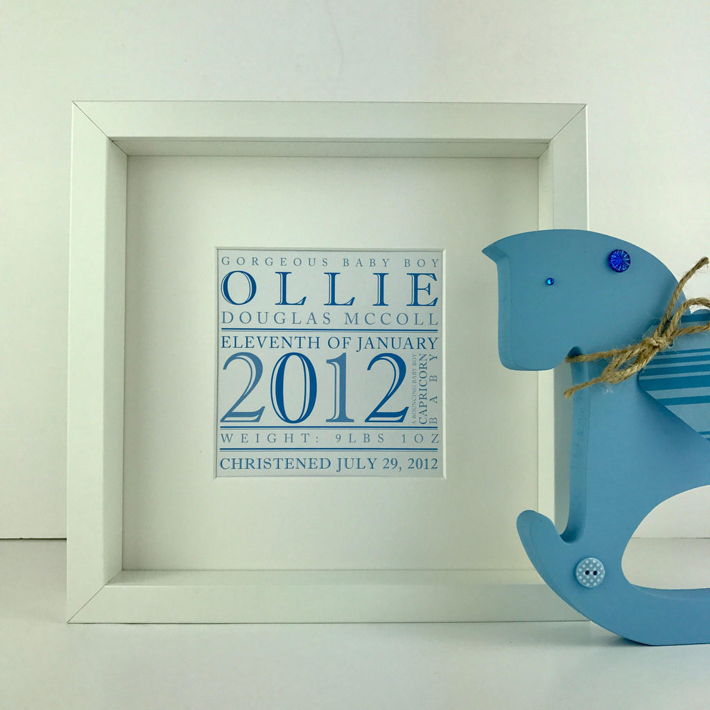Personalised Name Print for a New Baby (framed)