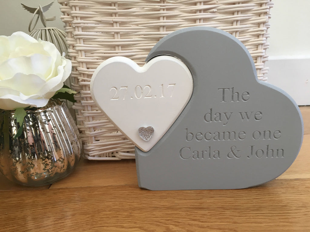 Free Standing Wooden Engraved Double Heart/Wedding gift/engagement gift/Mr & Mrs/personalised gift