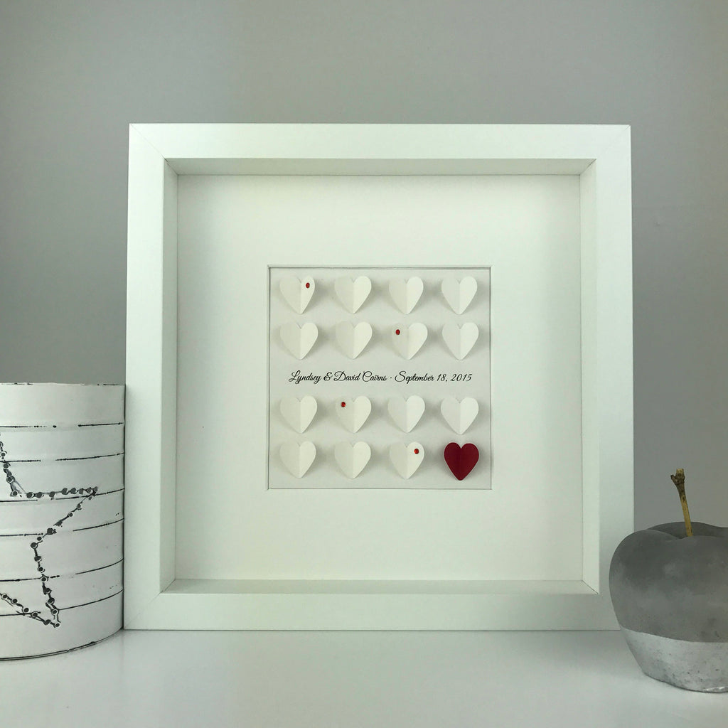 Personalised 16 little 3D heart Wedding, Engagement or Anniversary gift