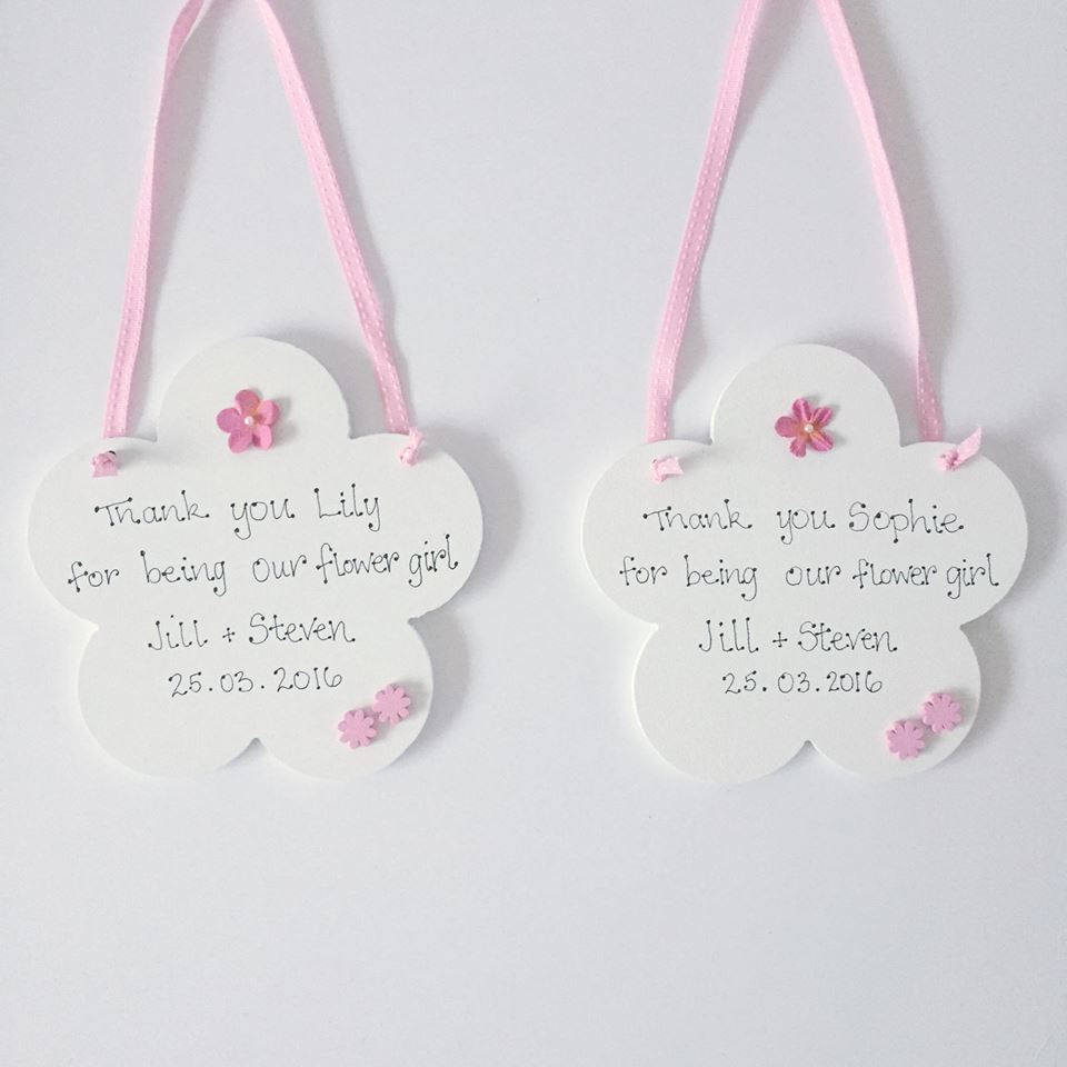 Flower Girl Hanging Flower| personalised flower girl  hand-painted gift | mr and mrs/ flower girl gift