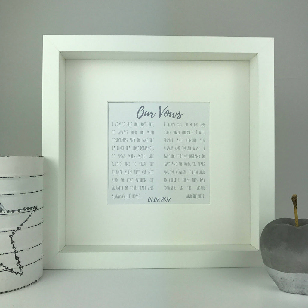 Our Vows personalised frame | wedding vows keepsake | wedding and anniversary gifts | personalised gift