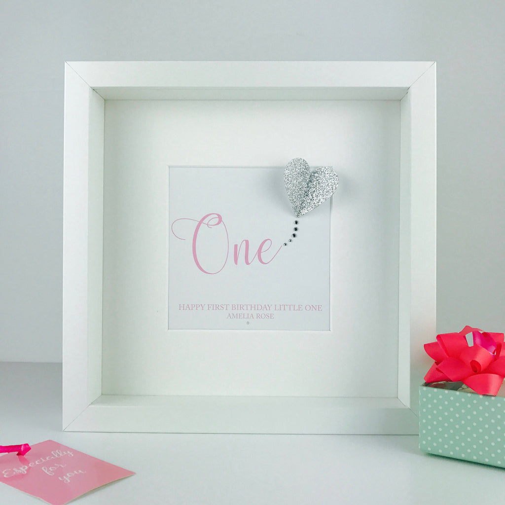 Personalised first birthday gift | baby's 1st birthday keepsake frame | nursery decor