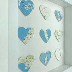 Framed 3D map hearts | engagement wedding anniversary gift | personalised gift