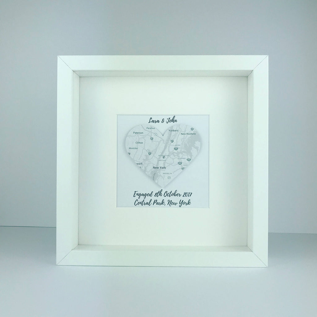 Framed map heart | wedding engagement and anniversary gifts | travel | personalised gift