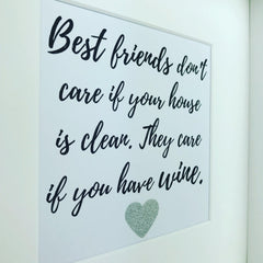 best friends and wine framed print | funny saying | alcohol quote | glitter frame