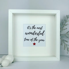 It's the most wonderful time of the year framed print | christmas saying | wonderful xmas quote | glitter frame gift