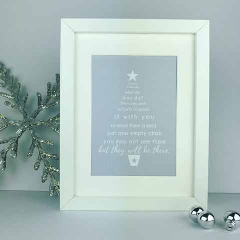 Christmas in Heaven, what do the do? Christmas tree | framed print