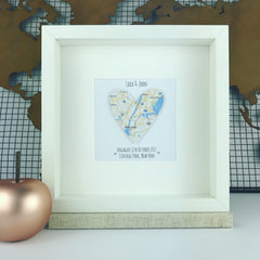 Engagement gift map heart frame | personalised engagement, wedding + anniversary gift | travel print | personalized keepsake frame