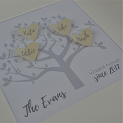 Personalised family tree hearts frame | family keepsake gift | personalised new home present
