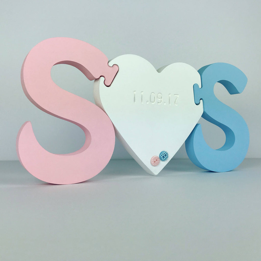 Wooden initials and heart jigsaw | twin gift | hand-painted engraved | free standing initials | new baby twins