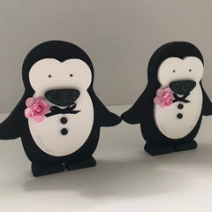 Wedding penguins | personalised groom & groom hand-painted gift | mr and mr | husband and husband present