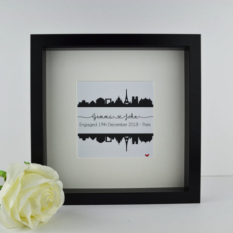 Personalised engagement gift | Paris France city skyline print | wedding anniversary travel frame