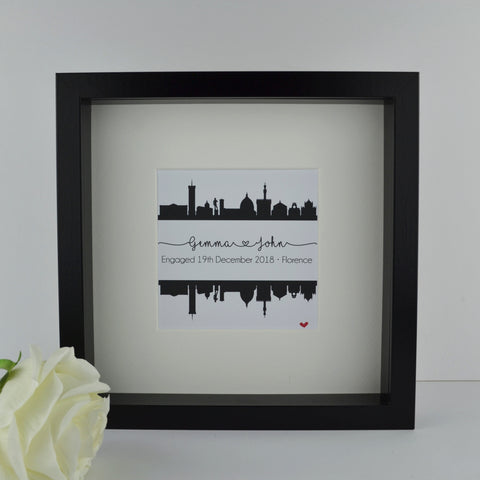 Personalised engagement gift | Florence Italy city skyline print | wedding anniversary travel frame