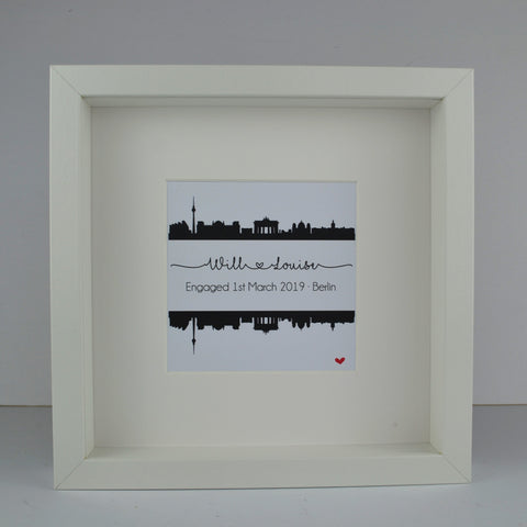 Personalised engagement gift | Berlin city Germany skyline print | wedding anniversary travel frame