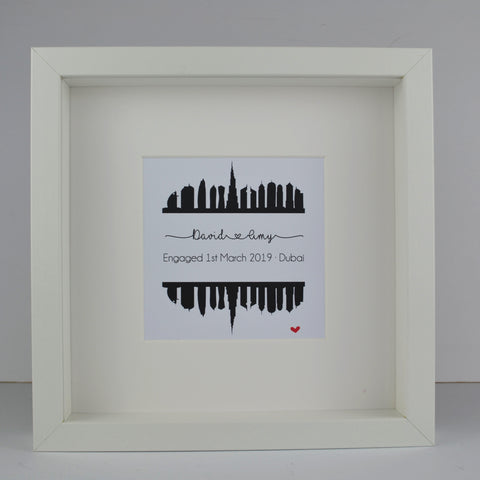 Personalised engagement gift | Dubai UAE city skyline print | wedding anniversary travel frame