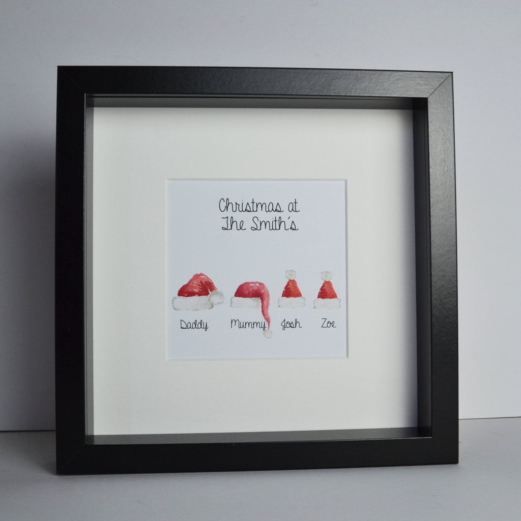 Personalised My Family Santa hat frame | Christmas family keepsake gift | personalised children or grandchildren names