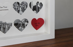 Personalised anniversary gift. Bespoke 16 heart anniversary frame. 3D photo collage