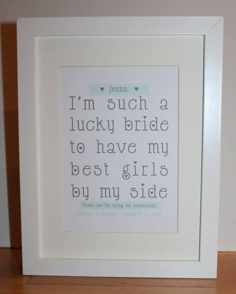 Personalised Bridesmaid 'Lucky Bride' Framed Print | Thank you word art gift