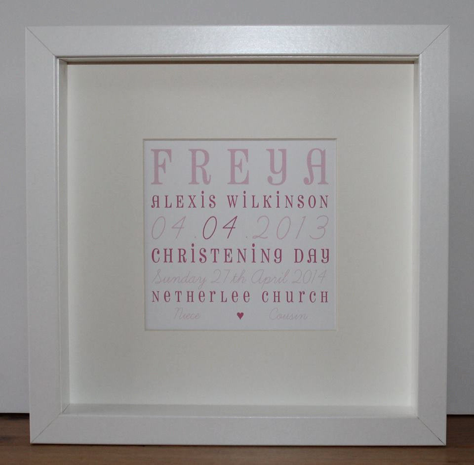 Personalised Christening Day keepsake | framed print | Baptism, Holy Communion, New Baby
