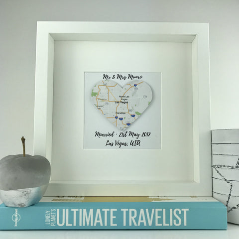 Framed map heart | wedding gift | travel | personalised gift | engagement | anniversary
