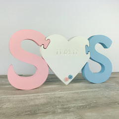 Twin Babies Free Standing Initials Jigsaw Gift