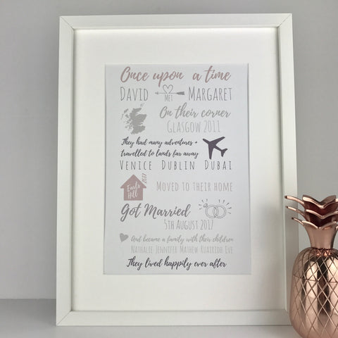 Personalised typography love story style wedding print | wedding birthday anniversary engagement new home