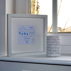 Christening personalised heart of words and pearl cross frame