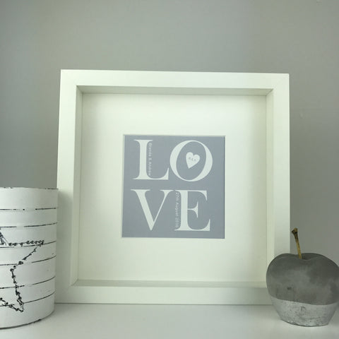 LOVE print | square box frame | personalised gift