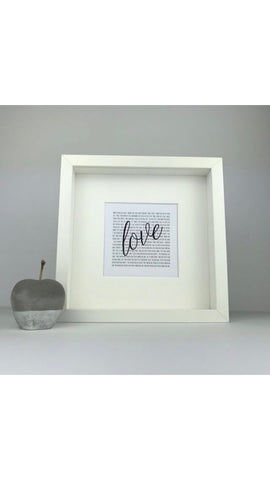 First dance lyrics | favourite song lyrics | square box frame | personalised wedding anniversary gift