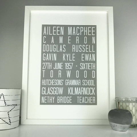 Personalised special birthday print